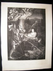 After Antonio Allegri da Correggio C1840 LG Folio Print. Nativity Holy Night